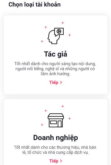 Chọn loại tài khoản pro trên TikTok