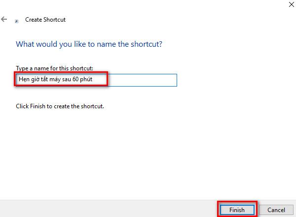 Cách tạo shortcut hẹn giờ tắt máy tính - 3