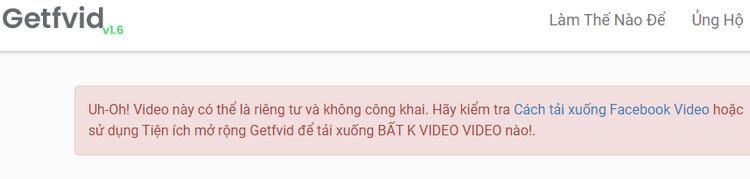 Lỗi không tải video facebook được